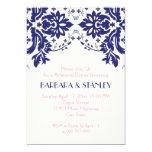 Damask navy blue, pink wedding rehearsal dinner custom invites