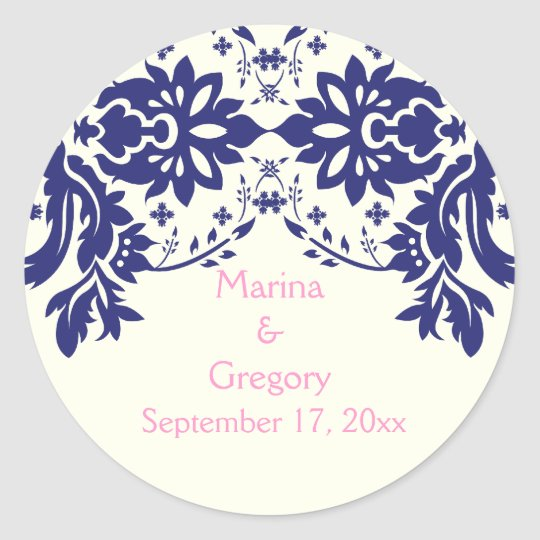 Damask navy blue, pink, wedding Save the Date