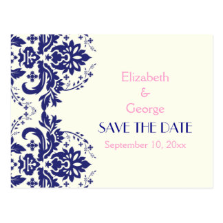 Damask navy blue, pink wedding Save the Date Postcard