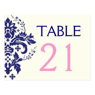 Damask navy blue, pink wedding table number postcard