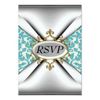 Damask old Teal Birthday Party Celebration RSVP 9 Cm X 13 Cm Invitation Card