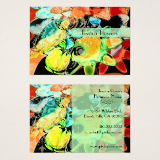Damask on abstract  template, teal crimson business card