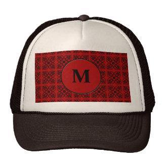 Damask on dark red mesh hats
