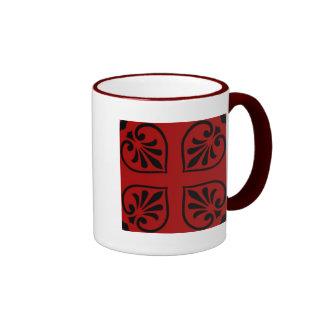 Damask on dark red mugs