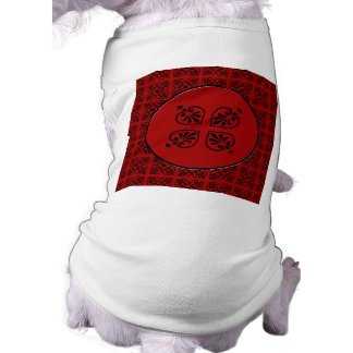 Damask on dark red sleeveless dog shirt