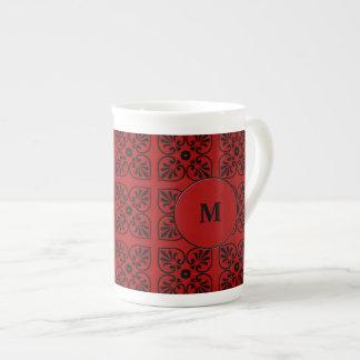 Damask on dark red porcelain mug