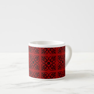Damask on dark red espresso cup