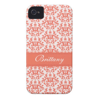 Damask orange emberglow name iphone 4S barely case iPhone 4 Cases