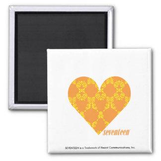 Damask Orange-Yellow 2 Square Magnet