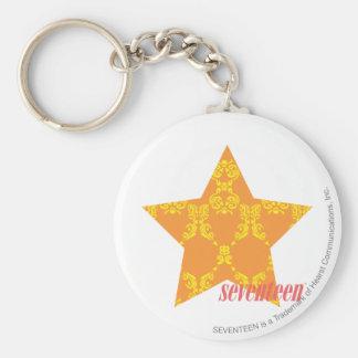 Damask Orange-Yellow 3 Key Ring