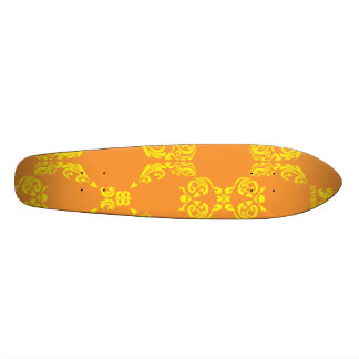 Damask Orange-Yellow Skateboard