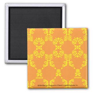 Damask Orange-Yellow Square Magnet