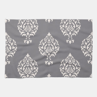 Damask Ornamental Big Pattern Cream on Grey Hand Towels
