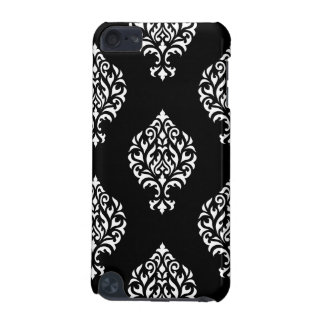 Damask Ornamental Large Ptn White on Black iPod Touch 5G Covers