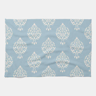 Damask Ornamental Pattern Cream on Blue Tea Towel