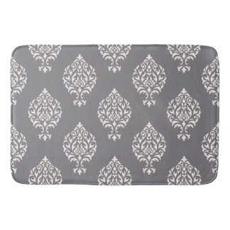 Damask Ornamental Pattern Cream on Grey Bath Mat
