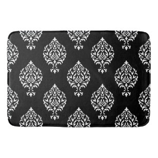 Damask Ornamental Pattern White on Black Bath Mat