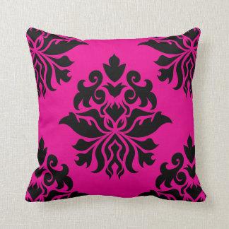 Damask Ornate - Black & Magenta (Two-Way Design) Cushion