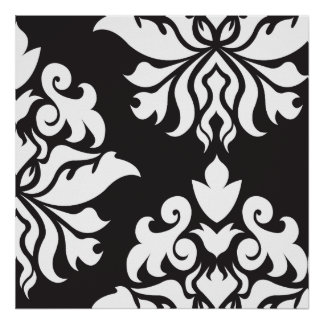 Damask Ornate Montage II White on Black Poster