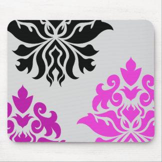 Damask Ornate Montage Pink Plum Grey Black Mouse Pad