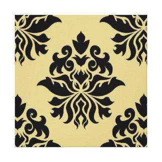 Damask Ornate Pattern - Black & Gold II Canvas Print