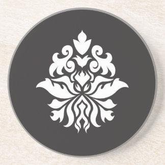 Damask Ornate Pattern - white on black Coaster