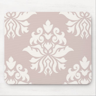 Damask Ornate Repeat Pattern - cream on pink Mouse Pad