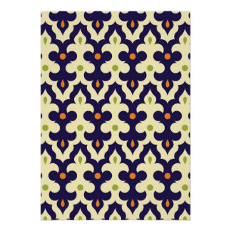 Damask paisley arabesque Moroccan pattern girly Poster