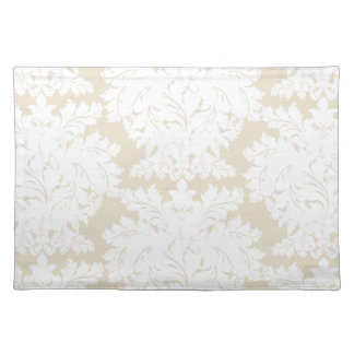 Damask | Pale Gold & White | Customizable Placemat