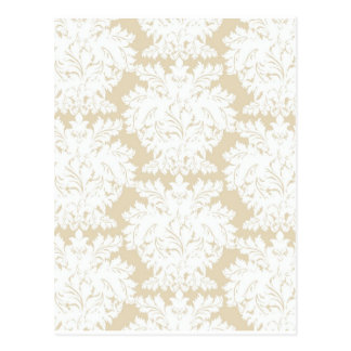 Damask | Pale Gold & White | Customizable Postcard