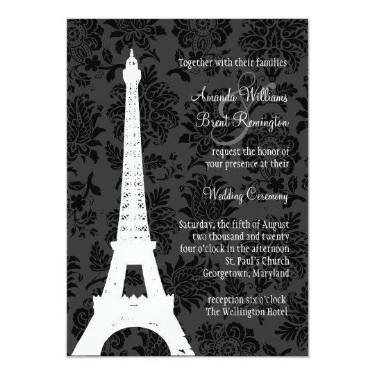 Damask Paris Wedding Invitation (black)