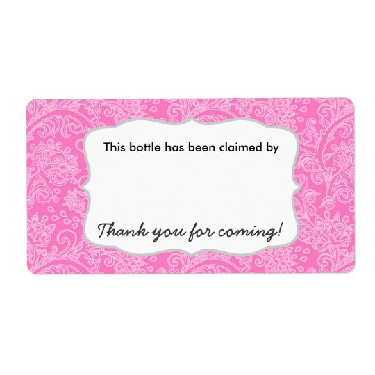 Damask party beer water soda bottle name tags