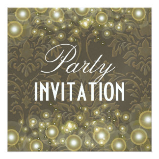 Damask Party invitations champagne bubbles