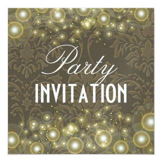 Damask Party invitations, champagne bubbles 13 Cm X 13 Cm Square Invitation Card