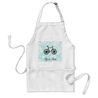Damask Pattern Bicycle; Teal Standard Apron