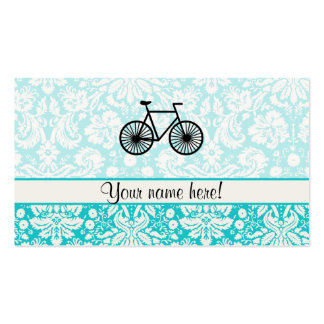 Damask Pattern Bicycle; Teal Business Card Templates