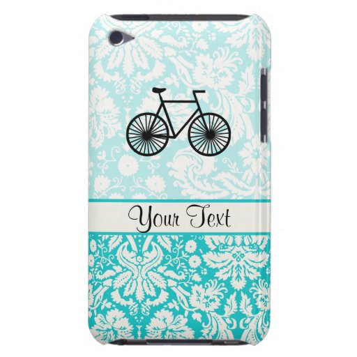 Damask Pattern Bicycle; Teal iPod Case-Mate Cases