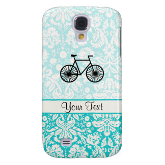 Damask Pattern Bicycle; Teal Galaxy S4 Cases