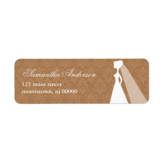 Damask Pattern Bridal Shower Address Labels