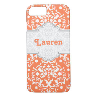 Damask pattern coral, white cute girly iPhone 7 case