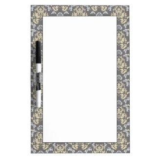 Damask pattern dry erase white board