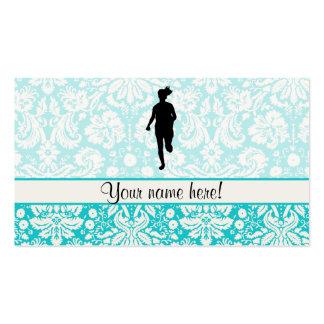 Damask Pattern; Girl Running Business Card Templates