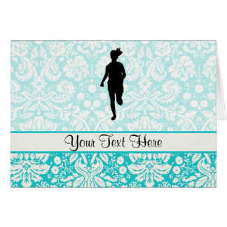 Damask Pattern; Girl Running Card