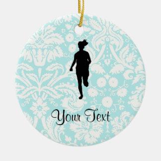 Damask Pattern; Girl Running Christmas Ornament