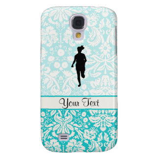 Damask Pattern; Girl Running Galaxy S4 Case