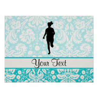 Damask Pattern; Girl Running Poster