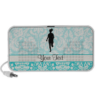 Damask Pattern; Girl Running Travel Speaker