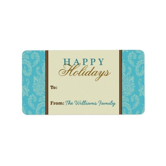 Damask Pattern Holiday Gift Tag (aqua/brown) Address Label
