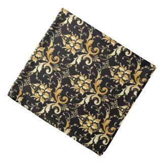 Damask pattern in faux gold and black bandana