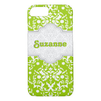 Damask pattern lime green, white cute girly iPhone 7 case
